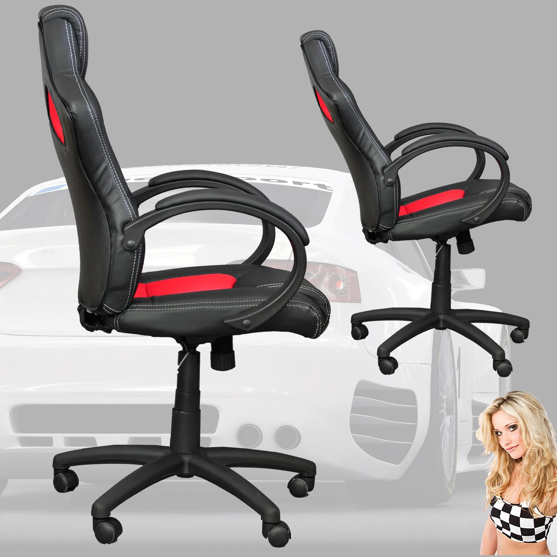 Chaise fauteuil si ge de bureau sport noir rouge ebay for Chaise x racer