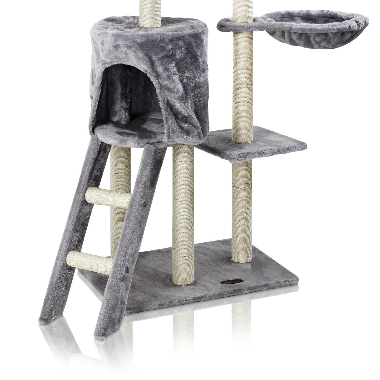 kratzbaum katzenbaum katzenkratzbaum f r katzen kletterbaum katzenbett grau. Black Bedroom Furniture Sets. Home Design Ideas