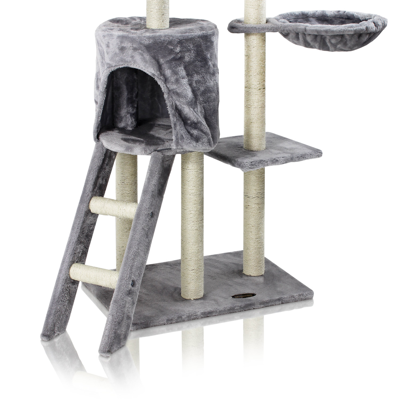 miganeo kratzbaum f r katzen 138x98x72cm silbergrau kb 10. Black Bedroom Furniture Sets. Home Design Ideas